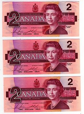1986 Canada 2 Dollar Notes - 3 in Sequence - CBJ114578/79/80, BC-55c