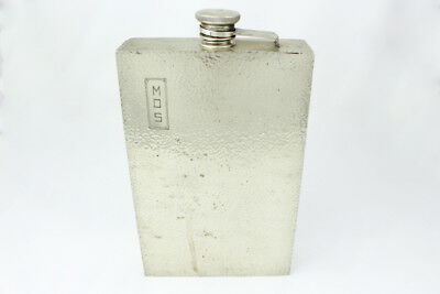 Large Signed AK Sterling Silver One Quart Flask w/ Monogram