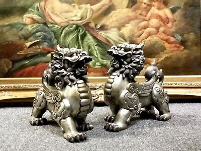 Estate Pair Of Antique Large Bronze High Quality Foo Dog Figures Silver Washed
