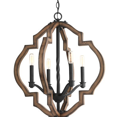 4-Light Cage Chandelier Rustic Gilded Iron Mediterranean Tuscan Foyer Fixture