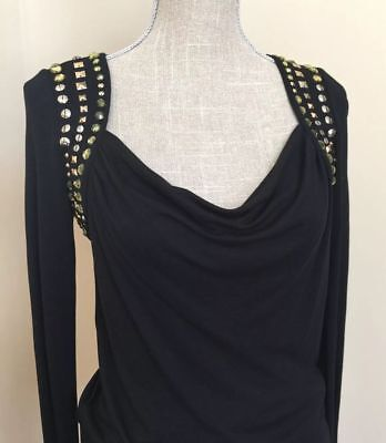 0394b302a06c17 Nwt Nordstrom Bcbg Max Azria Gathered Jersey Embellished Black Dress L   198.00
