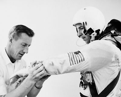 Jim Lovell Gemini 7 Astronaut Has Spacesuit Adjusted - 8X10 Nasa Photo Print