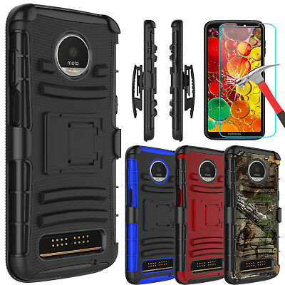 For Motorola Moto Z3 / Z3 Play Case With Kickstand Belt Clip + Screen Protector