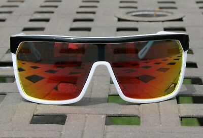 aab61cc21c Spy Optic FLYNN Black White Happy Grey Red Spectra Lens Mens Shield  Sunglasses