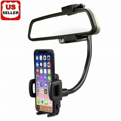 Universal 360° Car Rearview Mirror Mount Stand Holder Cradle For Cell Phone GPS