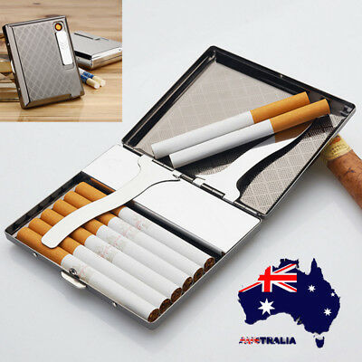 AU Zinc Alloy Cigarette Case With USB Lighter Electronic Rechargeable Windproof