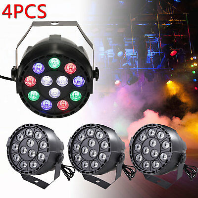 4 Pcs Music Active 12 LED RGBW DMX Disco Stage Strobe Light Par DJ Lighting Ball