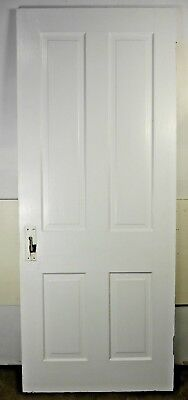 "Antique Vintage 4 Panel Interior Door 78"" X 31-7/8"" X 1-1/8"" Thick 1890's H4"