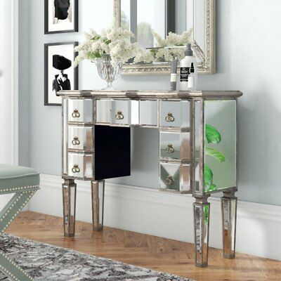 Mirrored Dressing Table Bedroom Furniture Vintage Antique Silver Wood 7 Drawers