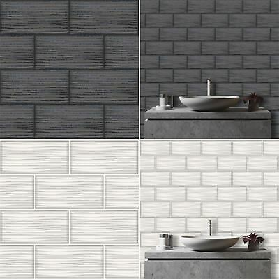 Wave Tile Wallpaper Tile Brick Glitter Kitchen & Bathroom Embossed Vinyl Holden