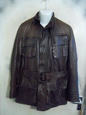 Barbour D3054 International Leather Motorcycle Jacket Size M