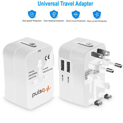 Universal All In One Power Adapter Wall Charger Socket Travel Plug Converter USB