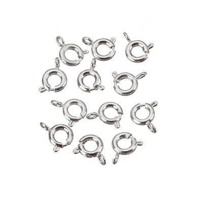 Silver Plated Bolt Ring Clasp/Trigger Fasteners 6mm Pack of 10 (C74/6)