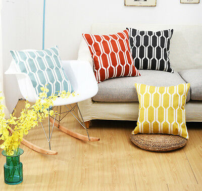 High End Full Embroidery Digital Geometric  Available Cushion Cover Pillow Case