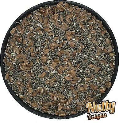 Chia (Linseed) and Brown Flax Seeds Mix - Omega Mix - Grade A - Premium Quality