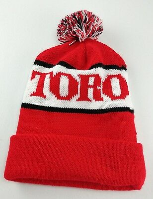 f3b2d3c2ecb Vintage Toro Knit Hat Ribbed Beanie Pom Pom Cap One Size Red White Black  TORO