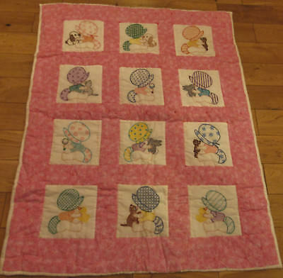 Bonnet Babies Girls Baby Quilt dogs & cats EXCELLENT 48 X 38 TIED