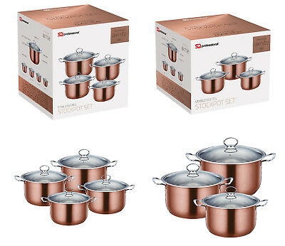 Induction Hob Stainless Steel Cookware Stockpot Casserole Set Glass Lids Copper