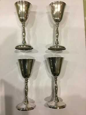 Set Of Four Cavalier Silver Plate On Brass Wine Goblets