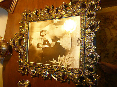 Antique Victorian Large 8x10 Solid Bronze Brass Picture Frame