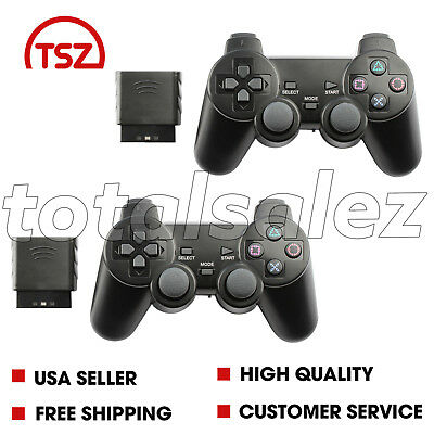 2 For Sony PS2 Playstation 2 Black Twin Shock Wireless Video Game Controller