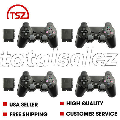 4 For Sony PS2 Playstation 2 Black Twin Shock Wireless Video Game Controller