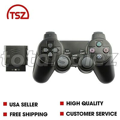 For Sony PS2 Playstation 2 Blue Twin Shock Wireless Video Game Controller