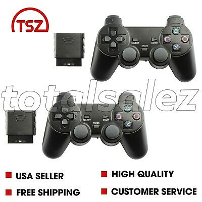 2 For Sony PS2 Playstation 2 Blue Twin Shock Wireless Video Game Controller