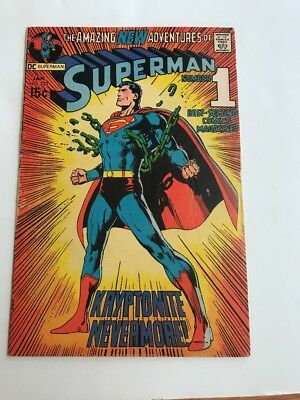 Superman 233 DC 1971 Classic Neal Adams Cover Key issue Nice Shape VG/F