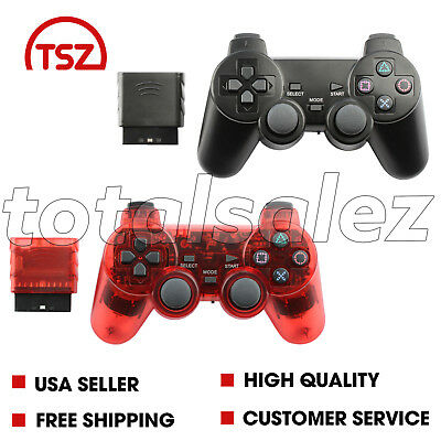 2 For Sony PS2 Playstation 2 Black Red Twin Shock Wireless Game Controller