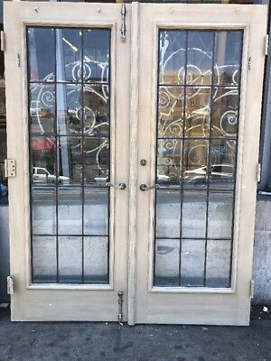 "French Doors With Leaded Glass 77x60""w Total Opening"