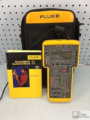 635A Fluke Quickbert-T1 Handheld Cable Tester With Case, Manual & Power Adapter