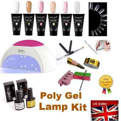 POLY GEL 24/48 Cures UV/LED Gel Lamp KIT Quick Building Nail Extension  Polygel