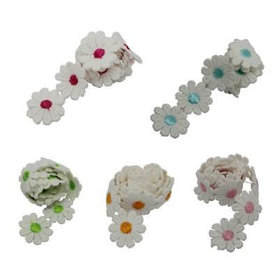 1 Yard Embroidered Daisy Flower Lace Trim Applique Headband for DIY Sewing Craft