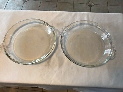 Two Pyrex Number 229 Clear Fluted Glass Deep Pie Plate Baking Dish