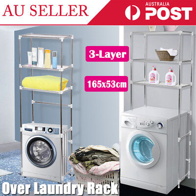 3 Shelf Over Toilet Laundry Washing Machine Bathroom Space Saver Storage Rack