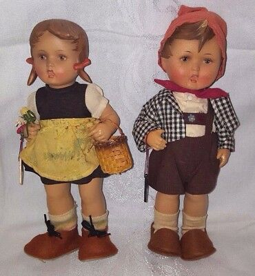 MJ Hummel Goebel marked tagged vintage 10 inch Hansl and Gretl doll set Germany