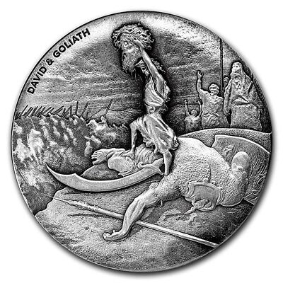 David and Goliath 2 oz .999 silver coin Biblical series Bible Story 2015 Antique