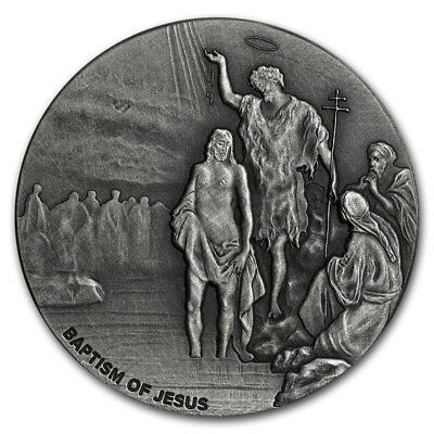 Baptism of Jesus Christ 2 oz .999 silver coin Biblical series, Bible Story 2017