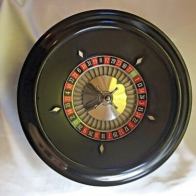 "Roulette Wheel 12"" Black Molded Plastic with Felt Table Top - AP Games USA"