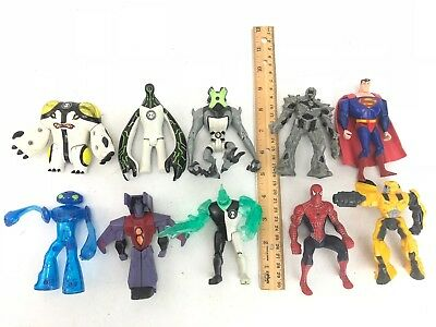 "Lot of 10 VINTAGE Superman spiderman  & alien monsters aprox 4"" Action figures"