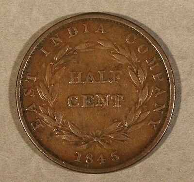 1845ww Straits Settlements Half Cent   ** FREE U.S SHIPPING **