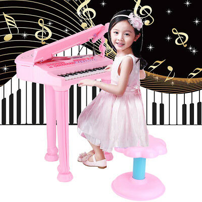 37 Key Electronic Keyboard Piano Musical Kids Toy W/ Microphone & Stool Gift