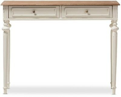 Baxton Studio Console Table French Provincial White Finished Wood Drawer Storage