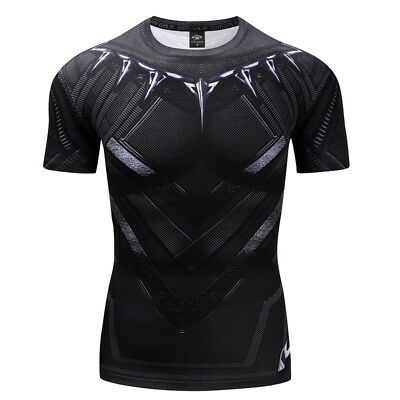Compression Short Sleeve T-shirt 3D Printed Superhero Sports Running Men Tops