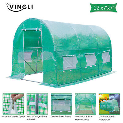 12'x7'x7' Green Round Greenhouse Tent Outdoot Plant Vegetable Cold Frames New