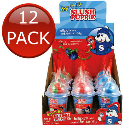 12 x SLUSH PUPPIE DIP N LIK LOLLIPOP WITH POWDER CANDY 47G SHERBERT SNACK TREAT
