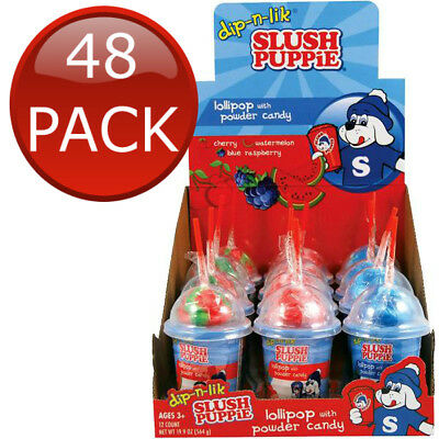 48 x SLUSH PUPPIE DIP N LIK LOLLIPOP WITH POWDER CANDY 47G SHERBERT SNACK TREAT