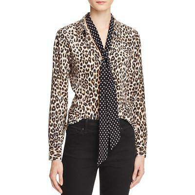 f68315b1e8a04 Equipment Womens Kate Moss Brown Silk Cheetah Print Blouse S BHFO 9344