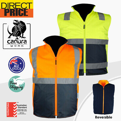 Hi Vis Vests Warm Reversible Vest Safety Work Wear Reverse Polar Fleece Tapes